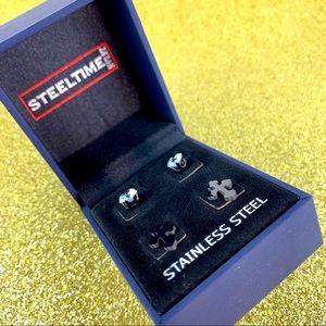 Steel Time Stainless Steel Men's Stud Earrings